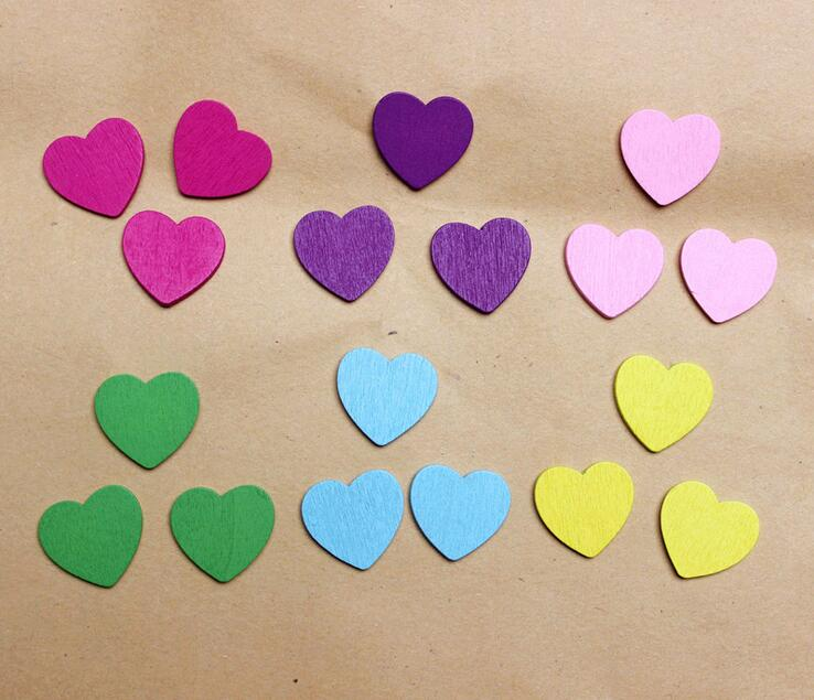 100pcs Mini Wooden Love Heart Art DIY Craft Wedding Card Making Scrap Booking Baby Wood  ...