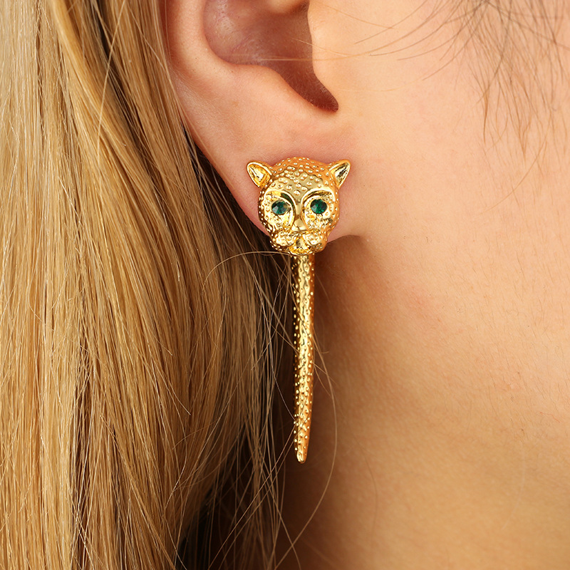 New Trendy Animal Jewelry Gold Color Stud Earring Black Crystal ...