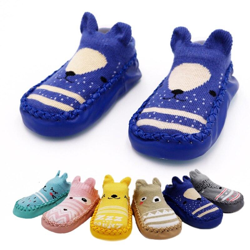 2019 meias de sapato recém-nascido do bebê infantil anti derrapante meias do bebê menino com solas de borracha meias da menina do bebê vestir sapatos da criança menina
