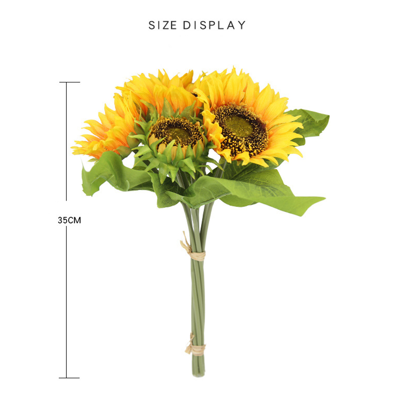 1 Bouquet Elegant Artificial Sunflower Silk Flowers Home Event Wedding Party Decor Artificial Flower Bouquet Decoration Flowers in Artificial Dried Flowers from Home Garden