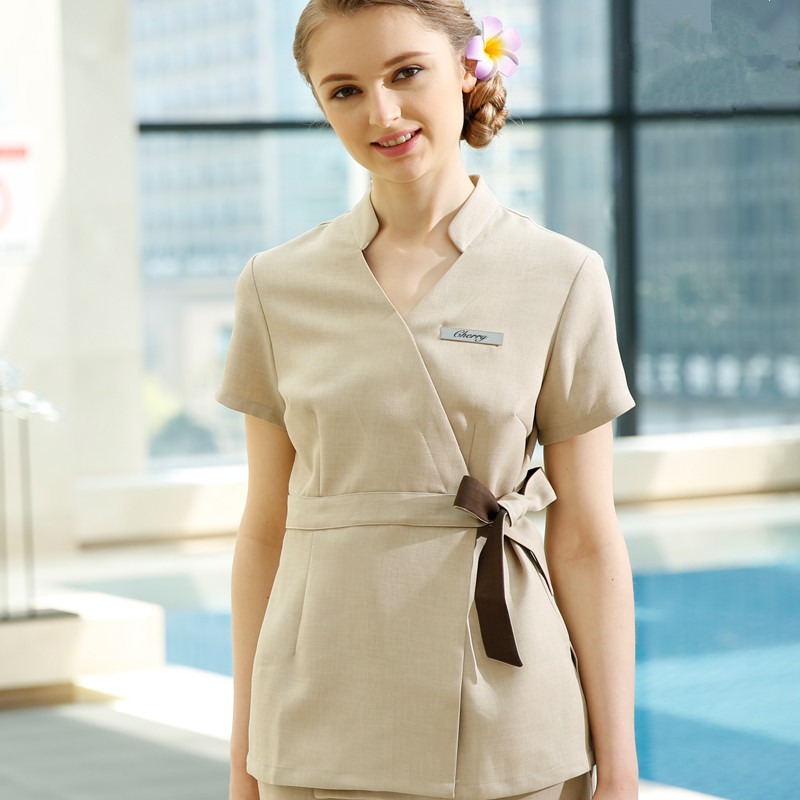 Spa workwear 2pcs sets spring summer beige massage work for Spa uniform female
