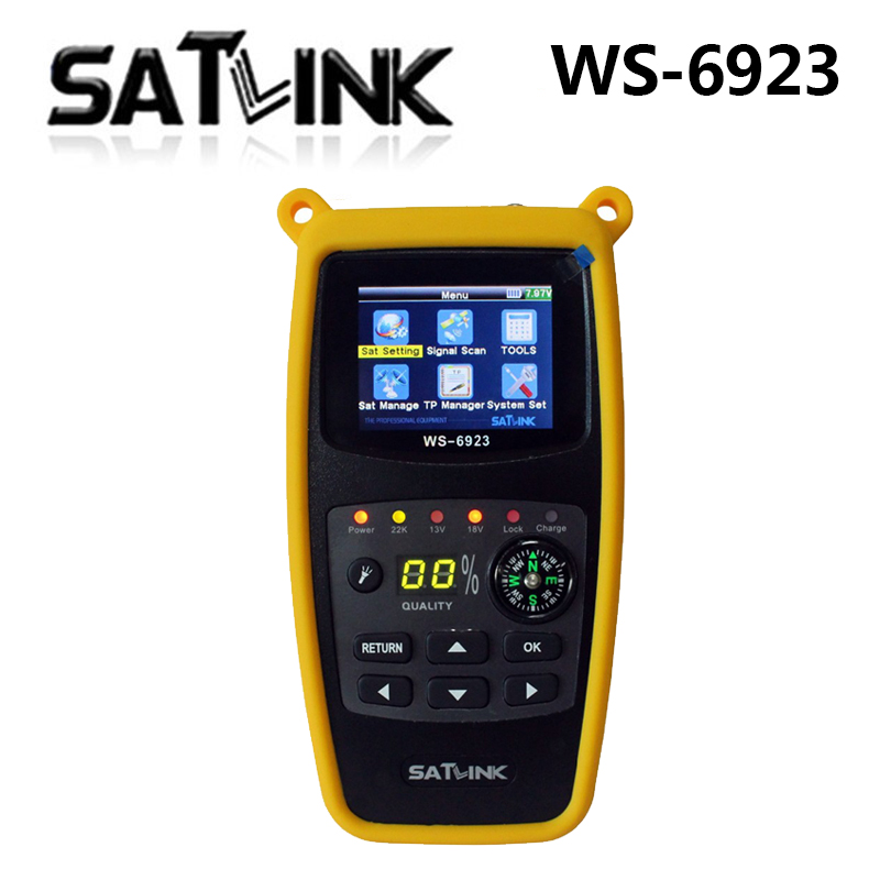 Original Satlink WS-6923 with 2.1 inch LCD DVB-S FTA C KU Band Digital Satellite finder meter ws 6923 dvb t2 kodi beelink htv 5 original dvb t satlink ws 6990 terrestrial finder 1 route dvb t modulator av hdmi ws 6990 satlink 6990 digital meter finder