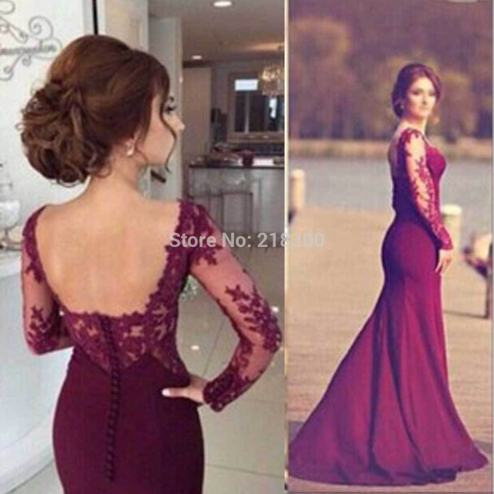 Burgundy Mermaid Prom Dress Long Sleeves