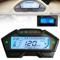 For Universal Motorcycle 8 22 Inch Wheel 1PC Speedo Odo Tacho Meter Gauge MPH Fuel Gear Left/Right LED Indicator Mayitr