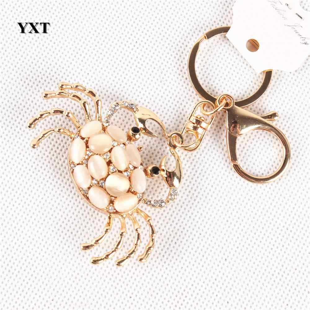 Nueva llegada precioso cangrejo ópalos lindo colgante de cristal bolso llave anillo cadena fiesta favorita de alta calidad mejor regalo