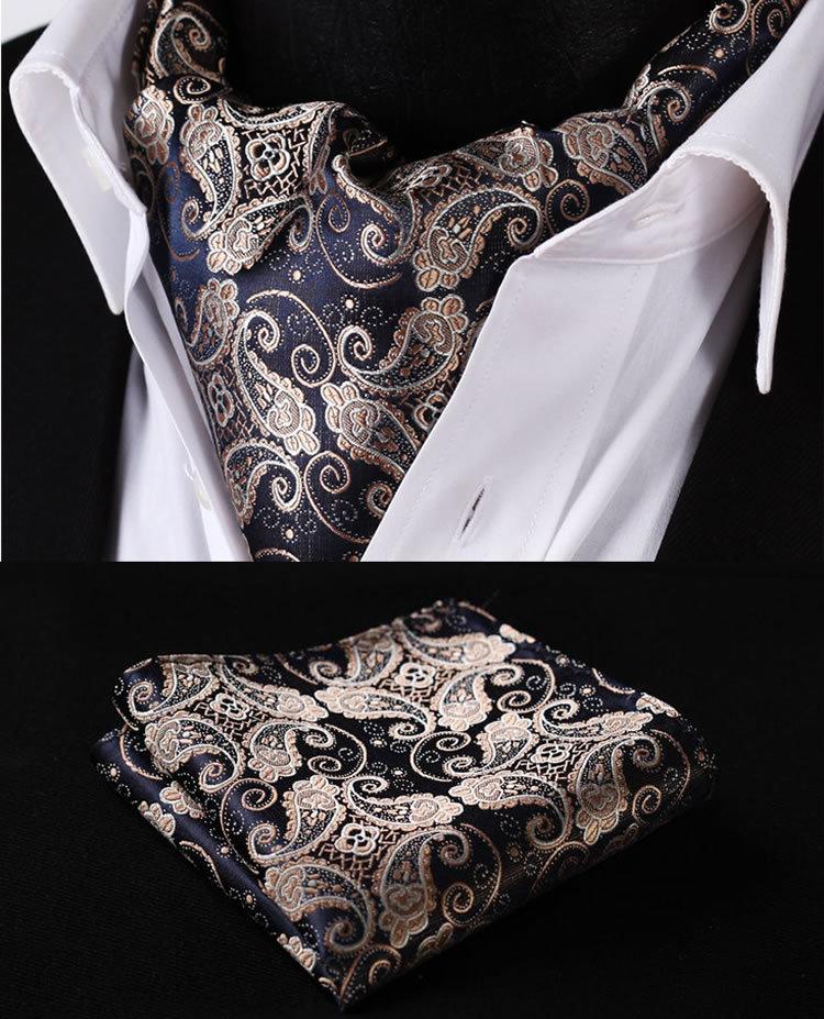 Apparel Accessories Punctual Men Classic Paisley Floral Ascot Cravat Necktie Matching Hanky Pocket Square Set Bwthz0515