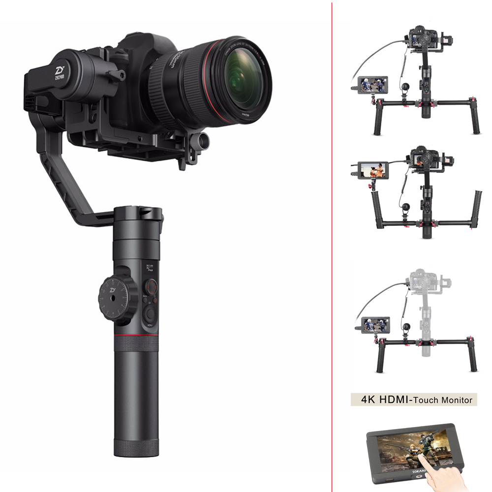Zhiyun Crane 2 3 Axis Handheld Gimbal Stabilizer For DSLR Cameras,Sokani SK-5 5'' 4K HDMI Monitor For Sony Canon Etc Cameras