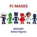 6 unids PJ Máscaras Personajes Catboy Owlette Gekko Capa Figuras de Acción Juguetes Boy Completa Set Model Collection Envío Gratis