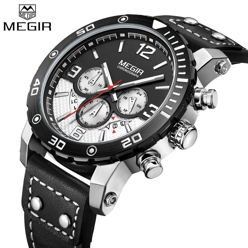 MEGIR Men Quartz Sport Watch Chronograph Military Army Watches Clock Men Top Brand Luxury Creative Watch Men Relogio Masculino megir men sport watch chronograph silicone strap quartz army military watches clock men top brand luxury male relogio masculino