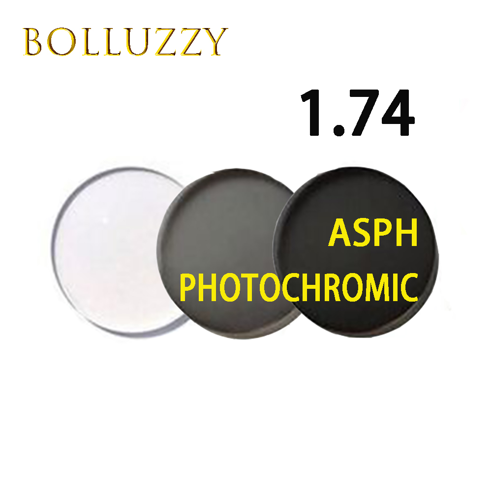 1 74 Index Photochromic Prescription Lenses High Quality Aspheric Surface ASPH Optical Photochromic Lenses Grey Color