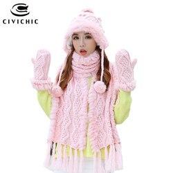CIVICHIC Top Grade Warm Set Woman Rabbit Fur Hat Scarf Glove 3 Pcs Knit Pompon Beanies Thicken Mitten Weave Tassel Shawl SH193