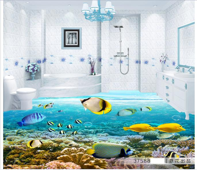 Customized 3d photo wallpaper 3d floor painting wallpaper Fish 3D floor living room decoration customized 3d photo wallpaper 3d floor painting wallpaper 3 d stereo floor tile only beautiful flowers 3d living room decoration