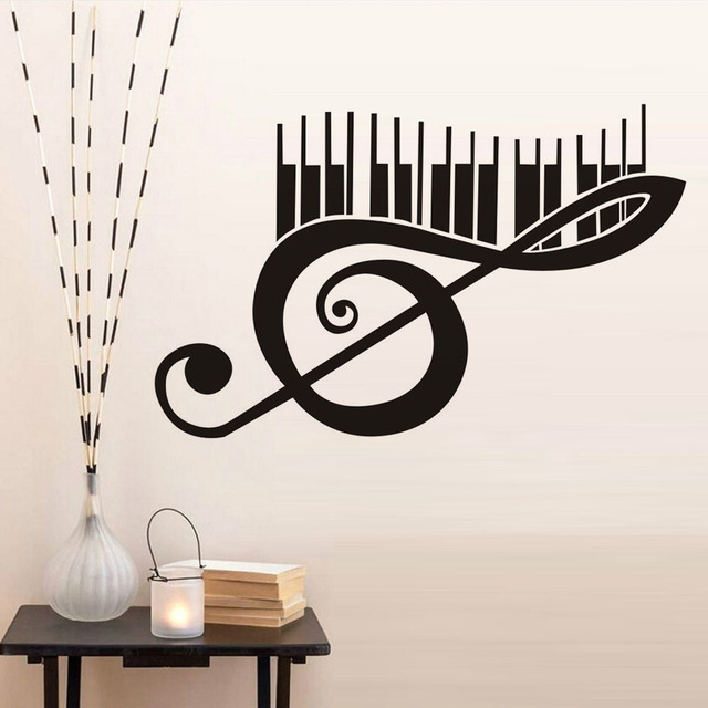 Wall Decal Decoration Living Room Bedroom Wall Sticker Piano Music Note Wallpaper Vinyl Creative