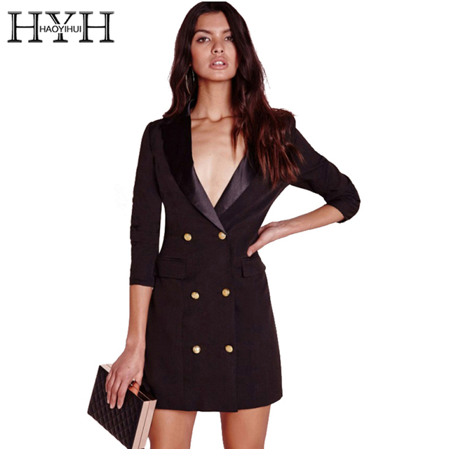 Hyh Haoyihui Brief Black Women Button Mini Sexy Dress Notched