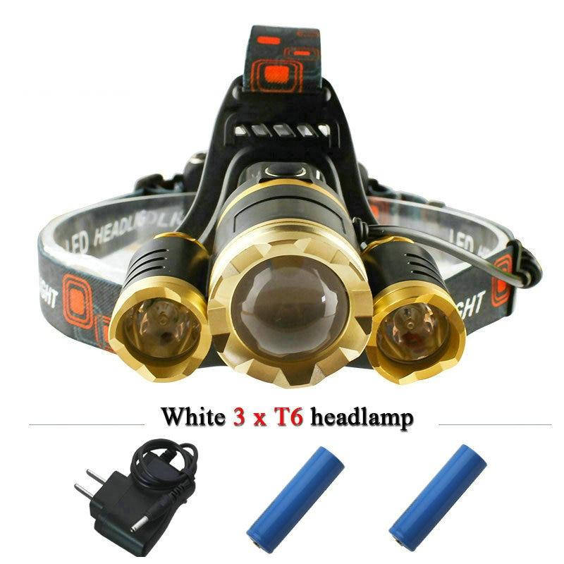 10000 lumens 3T6 led headlamp headlights CREE XML T6 lantern head <font><b>lamp</b></font> hunting head flashlight light 18650 Rechargeable Battery