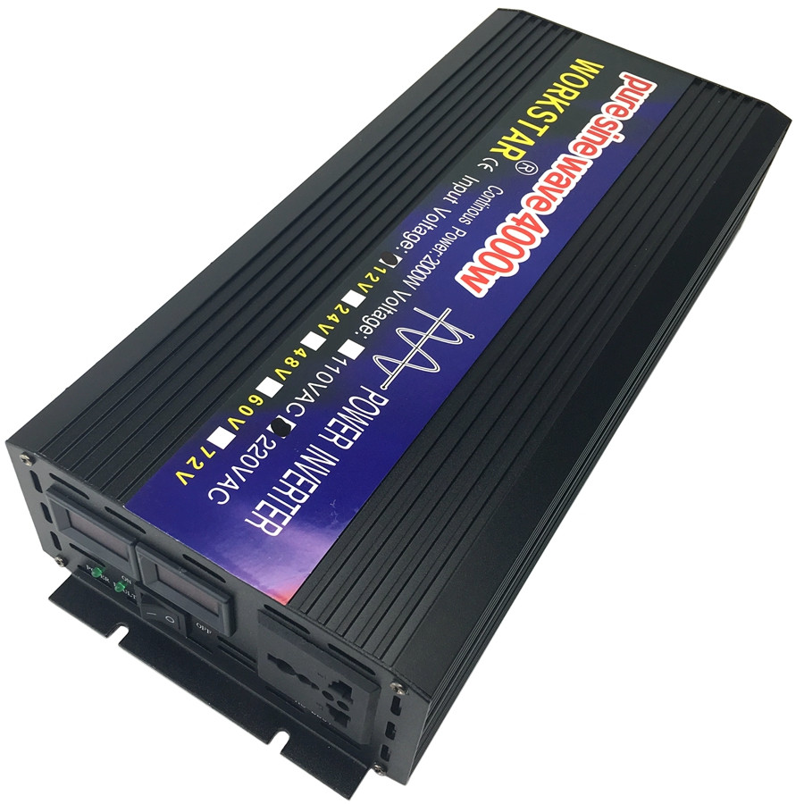 WORKSTAR Crête 4000 w Onde sinusoïdale Pure HORS Réseau Onduleur DC12V/24 v à AC220V Onduleur Convertisseur Houseuse système solaire