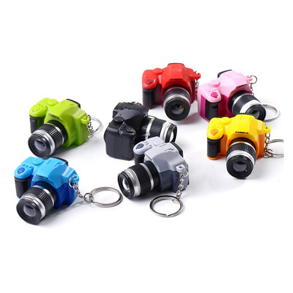 2017 LED Cameras Car Key Chains Toys Sound Glowing Pendant Doll Gifts Cameras Light Up Toys Keychain Camera