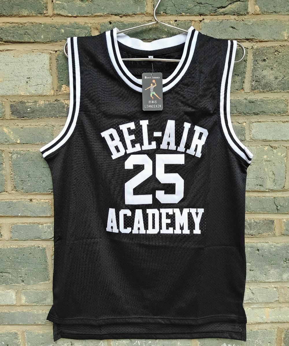 M Bel Brand Meppen brand lianzexin carlton 25 jersey bel air academy mens black basketball throwback stitch