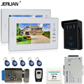 JERUAN Cheap! 7`` Color Video Intercom Door Phone System + 2 White monitors + RFID Waterproof  Touch key Camera + Electric lock