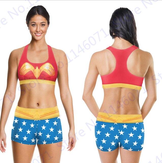 b90d12f34a Wonder Woman Sports Running Set Golden Phoenix Sports Bra   Fitness Shorts  Suit Blue Yoga Tracksuit