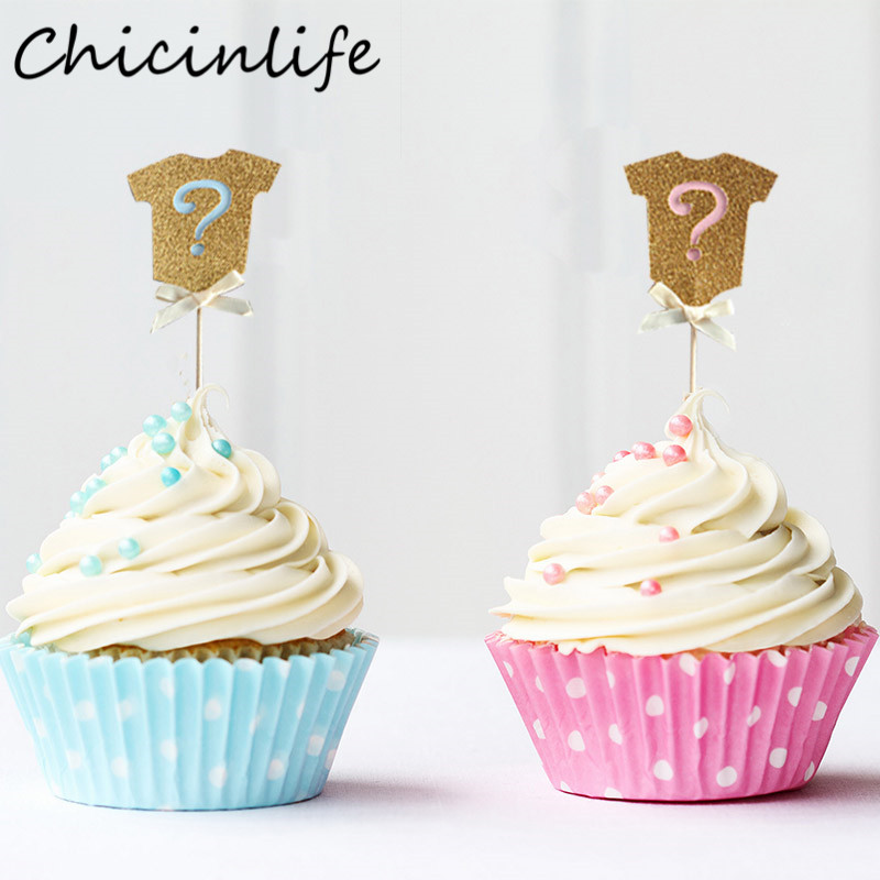 Chicinlifer 5Pcs Pink/Blue Clothes Flag Cake Topper Birthday Baby Shower Banner Gender Reveal Party Decorations Supplies
