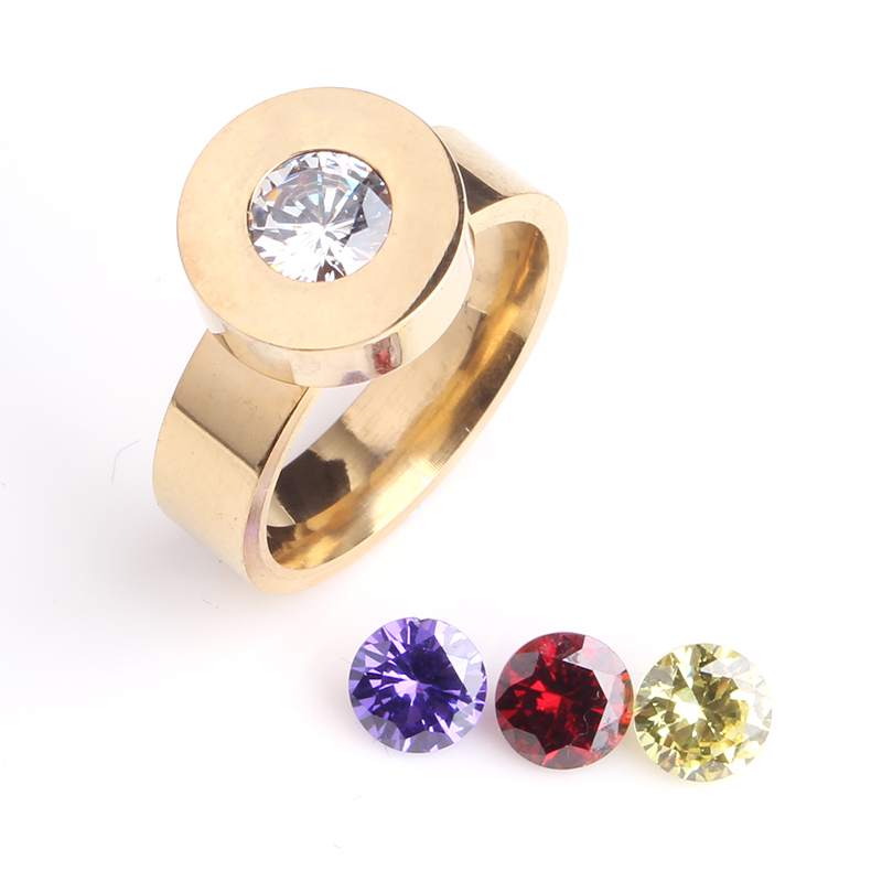 free shipping Gold color Change zircon 316L Stainless Steel finger font b rings b font for