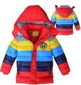 Ano novo meninos jaqueta de inverno roupas listradas crianças Crianças Algodão Outwear & casacos Meninas casaco de inverno Quente com capuz