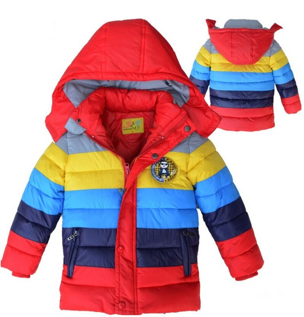 New Year boys winter jacket striped children clothing Warm hooded Kids Cotton Outwear&jackets Girls winter coat
