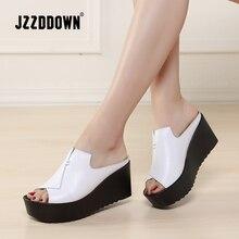 Jzzddown sandálias femininas de couro genuíno, chinelos plataforma, calçado de luxo para mulheres