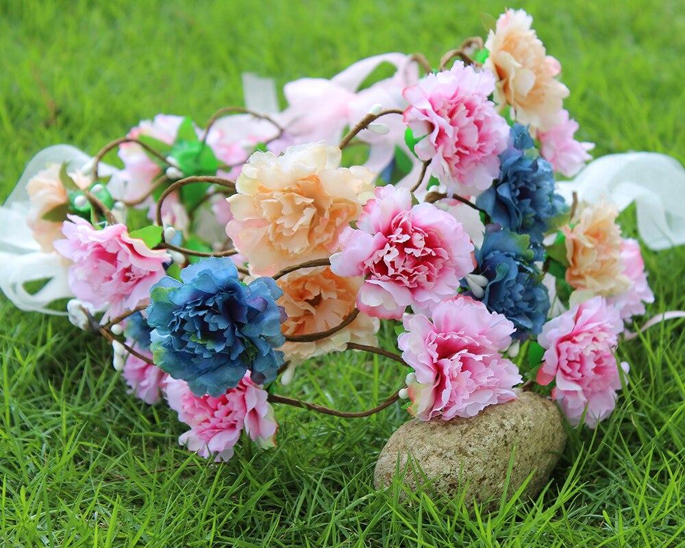 Moins cher De Mariage rose Couronne De Fleurs filles Parti Floral  guirlandes Ruban Réglable plage fleur couronne couronne de fleurs bandeau ac383cb795c