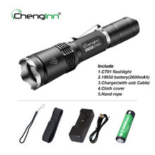 ФОТО tazer tactical flashlight cree led torch xm-l2 linternas hard light waterproof 7 mode 1x 18650 rechargeable hunting lights