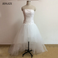 JIERUIZE White Lace Long Back From Short Beach Wedding Dresses 2016 Crystals High Low Wedding Gowns robe de marriage trouwjurk