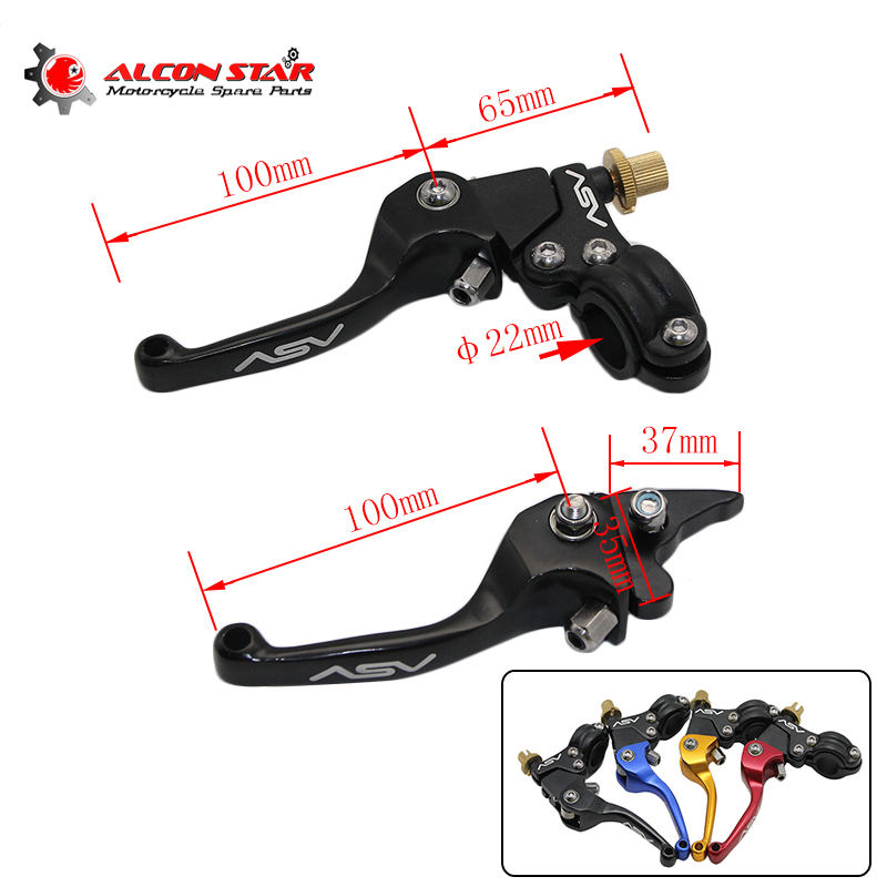 Alconstar- Aluminum Alloy ASV F3 Series Short Clutch Brake Folding Lever Fit Most Motor ATV Dirt Bike KXF CRF YFZ KLX CQR KLX asv clutch and brake folding aluminum lever for dirt bike pit bike spare parts