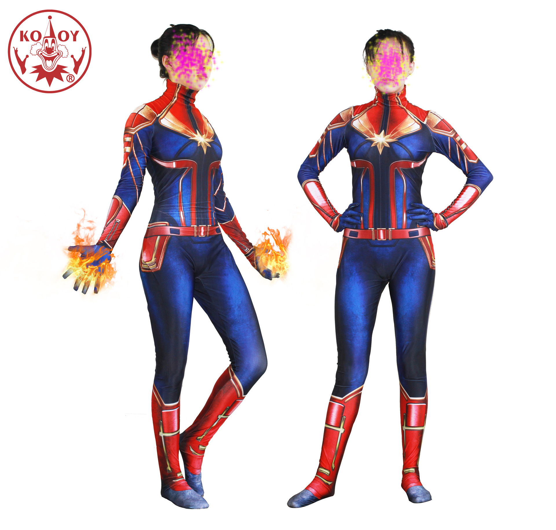 New Captain Marvel Cosplay Costume Women Adult Superhero Halloween women costume Ms Marvel Carol Danvers Bodysuit Jumpsuits