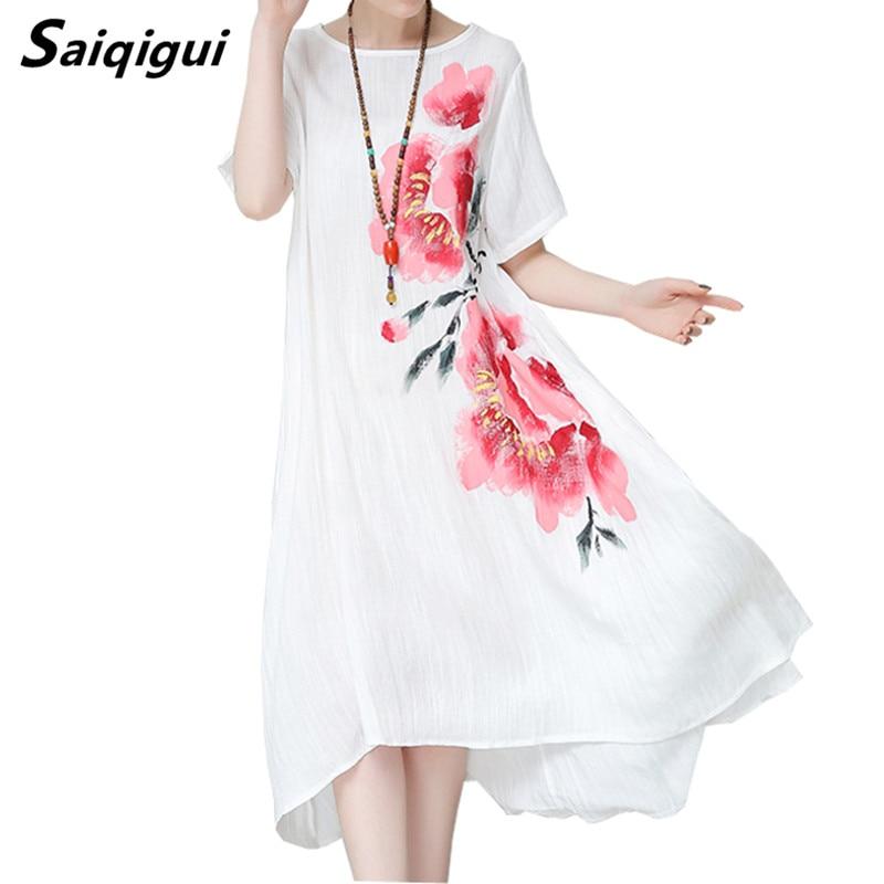 Saiqigui Summer dress short sleeve women dress casual Loose cotton Linen dress Printing A-Line o-neck vestidos de festa