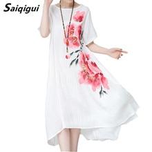 Saiqigui летнее платье с коротким рукавом платья женщин случайные свободные хлопок белье печати платье трапециевидной формы с круглым вырезом Vestidos De Festa