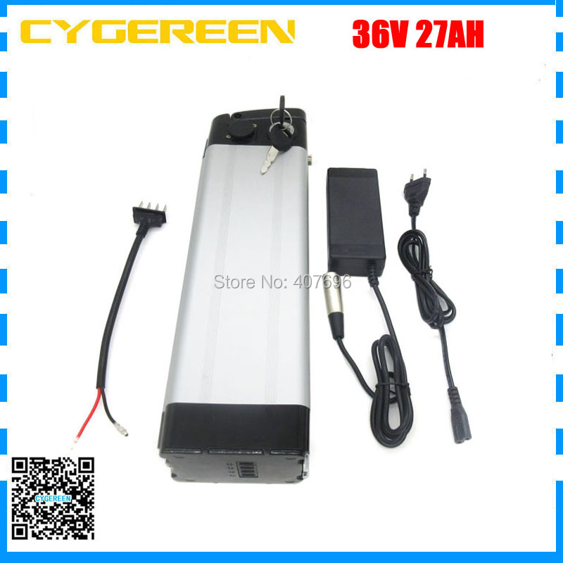 36Volt 1000W Electric Bike battery 36V 27AH Silver fish lithium battery use F1L 3400mah cell with aluminum case 2A Charger36Volt 1000W Electric Bike battery 36V 27AH Silver fish lithium battery use F1L 3400mah cell with aluminum case 2A Charger