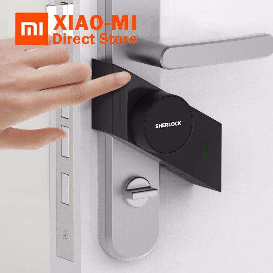 Más Xiaomi mi jia Sherlock cerradura inteligente M1 mi jia inteligente cerradura de la puerta sin llave huella + contraseña a mi casa Aplicación de teléfono de Control de