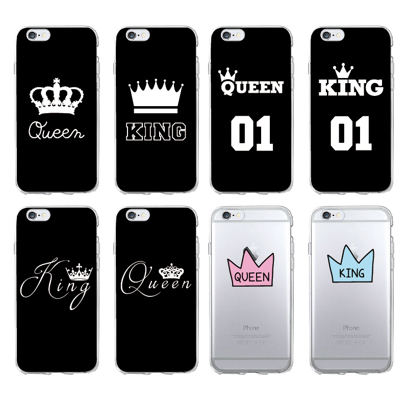 Fashion Luxury Crown King Queen Soft TPU Back Covers For IPhone 11 Pro Max 5 5S 5SE 6 6s 7 7Plus 8 8Plus X XS Max Fundas Capas(China)