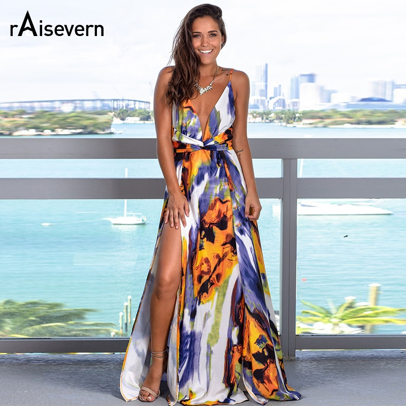 Raisevern Summer Women Print Deep V Collar Slit <font><b>Dress</b></font> Long Tie <font><b>Open</b></font> <font><b>Back</b></font> <font><b>Dress</b></font> Sleeveless Elegant Women <font><b>Dress</b></font> image
