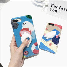 Squishy Cute 3D Cartoon Sealion Polar Bear TPU Case for Apple iphone 6 6s 6Plus 6sPlus 7 7plus Soft Back Cover Protective Coque
