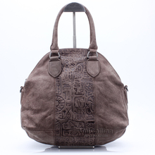 Fashion vintage dull polish real leather soft shell bag women ancient hieroglyphic embossing vintage handbag shoulder bag