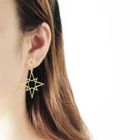 GORGEOUS TALE Manufacture 10pcs a Lot Wholesale Price High Quality Stainless Steel Hollow Shuriken Charms Women Drop Earrings