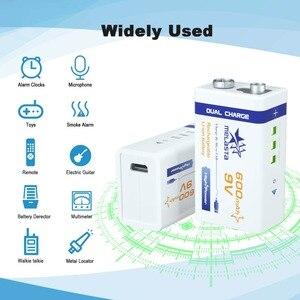 Image 5 - 9V PPP3 6F22 Micro USB 600mAh ricaricabile agli ioni di litio batteria per il fumo di allarme senza fili microfono Chitarra EQ Citofono multimetro