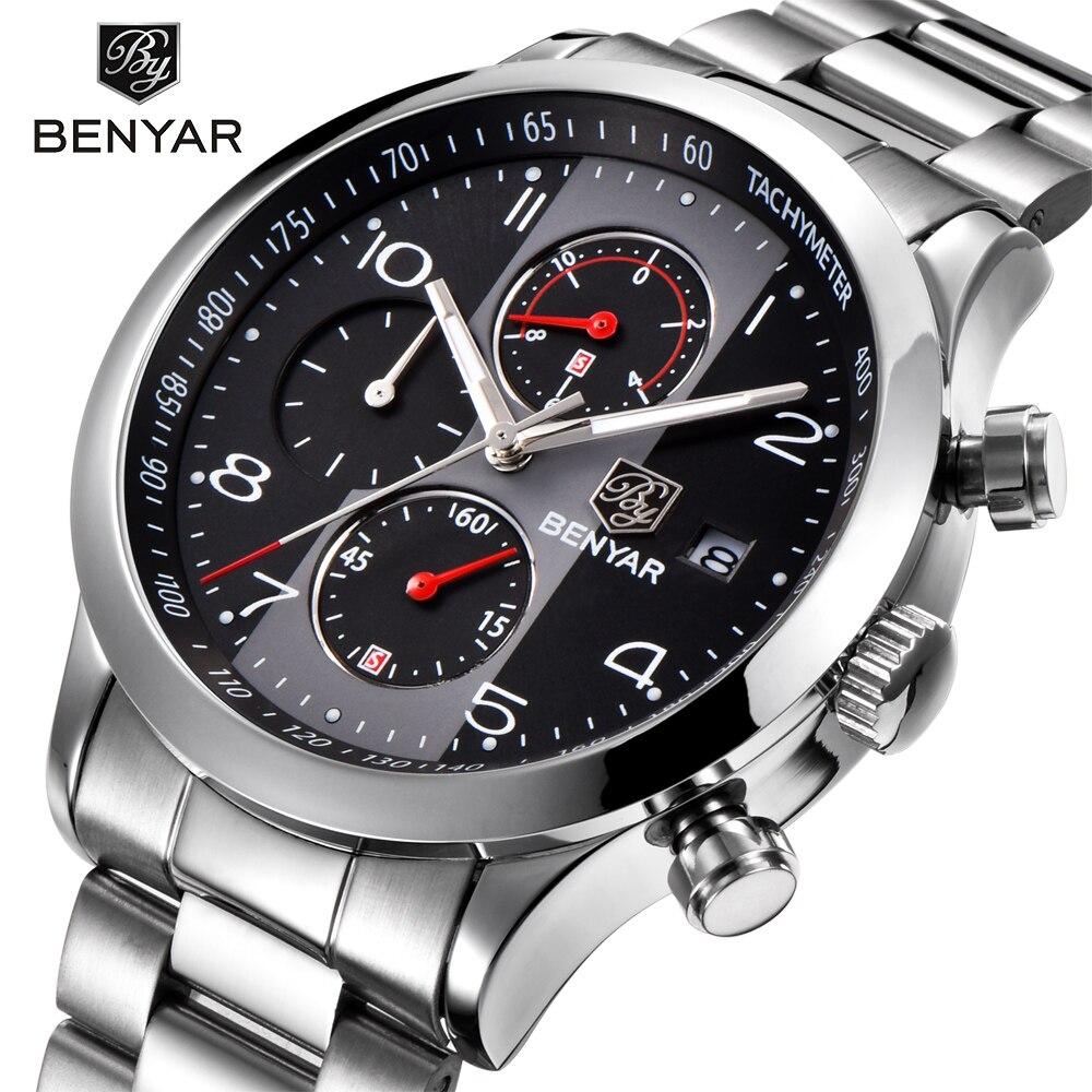 BENYAR Mode Chronograph Sport Uhren Männer Edelstahl Strap Marke Quarzuhr Uhr Relogio Masculino Reloj Hombre schwarz