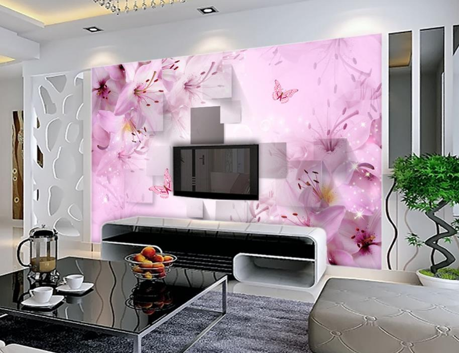 Lily three dimensional square warm and romantic mural 3d paintings ...