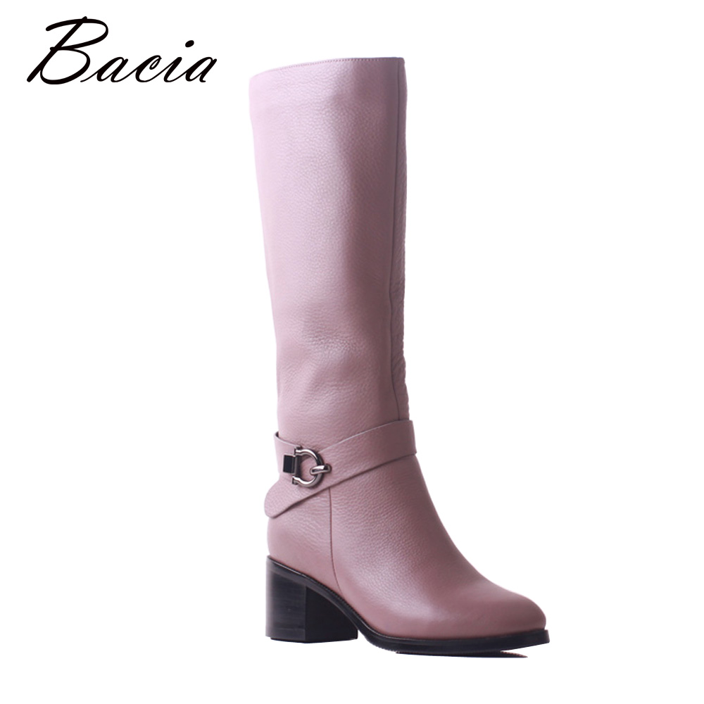 Bacia Mujer Botas Genuine Leather High Boots Snow Wool Fur&Short Plush Cowhide Elegent Winter Long Knee Shoes for Women SB116