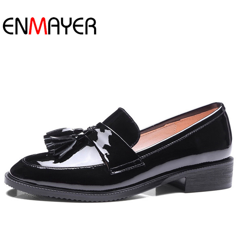 ENMAYER Spring Autumn Women Casual Pumps Shoes Pointed Toe Square Heel Slip-On Large Size 34-43 Black Red Wine  2017 women lady shoes flat heel spring autumn boat pointed toe slip on casual simple mixed color pink yellow blue black red