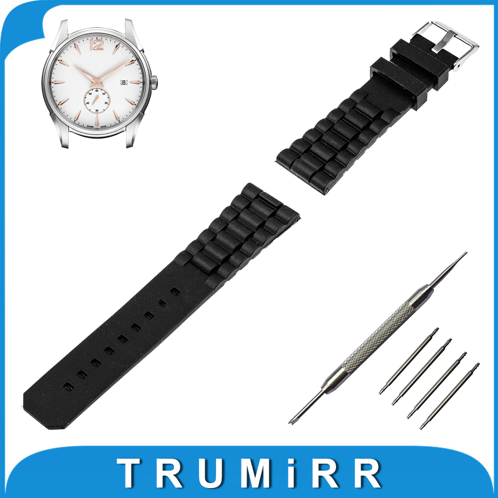 19mm 20mm 21mm 22mm 23mm 24mm Silicone Rubber Watch Band Stainless Steel Pin Buckle Strap for Hamilton Wrist Belt Bracelet Black liaopijiang bao gangshi used ar5890 ar5905 ar5906 stainless steel strip rubber fashion 20 23mm
