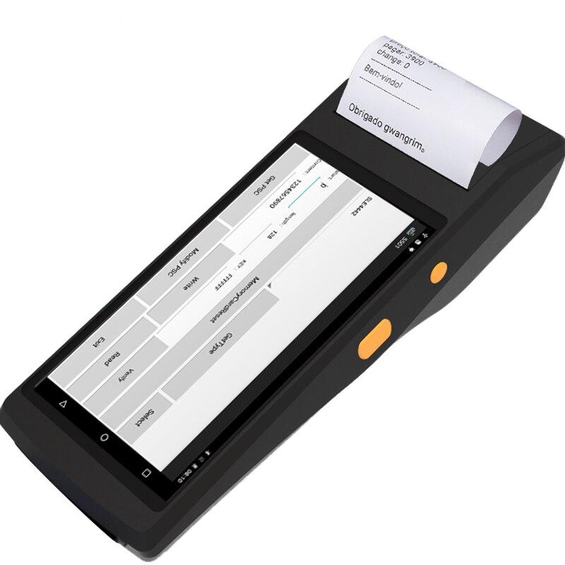 RUGLINE 5.5 pouces android 7.0 OS PDA avec imprimante thermique 58mm 1D/2D lecteur de codes à barres UHF lecteur d'empreintes digitales 4G wifi bluetooth